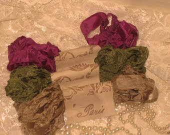 Scrunched Seam Binding ribbon, Crinkled Scrunched Seam Binding Bliss Delight Vintage Colors ESC