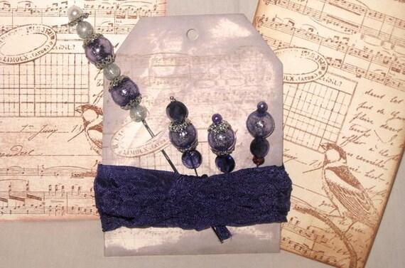 Handmade Stick Pins Embellishment Set with Seam Binding for crafting Scrapbooking Home Decor Wedding