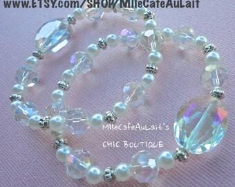 Stackable Bangle Bracelet DUO, Drop Dangle Earring Set- WHITE HOT