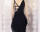 Party Dress Handmade Holiday Fashion Cocktail Dress Evening Dress Clothing Women : LUDOWIC Black Sheer Drape Dress Custom Size