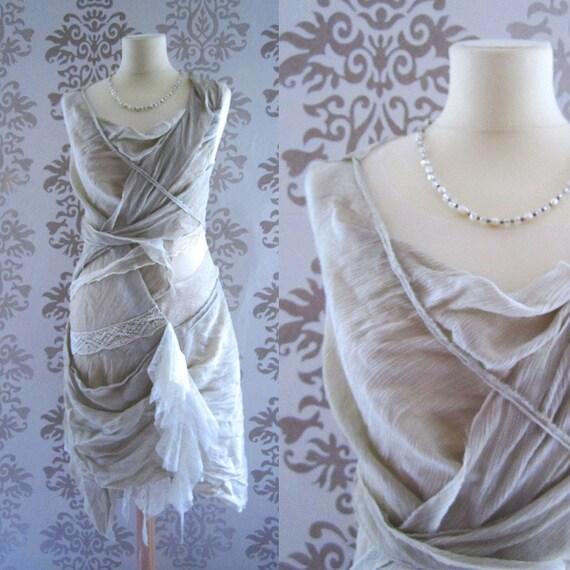 ISADORA Taupe Asymetrical Drape Dress Size S/M OOAK