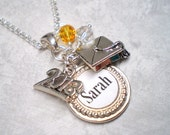 Graduation 2014 keepsake personalized necklace commemorate name school graduation year activity charms in silver