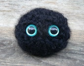 Black Cat Scrappy Buddy Puff Ball with Aqua Safety Eyes and Crocheted with Black Fuzzy Yarn