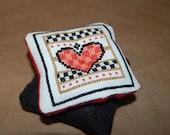 Cross Stitch Country Heart Pin Cushion