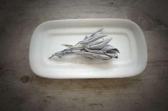 Vintage white butter dish, from Garden of Simples