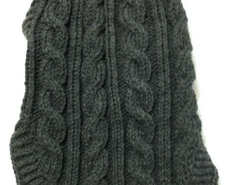Classic Aran Knit Dog Sweater in Charcoal Quiltsy Handmade