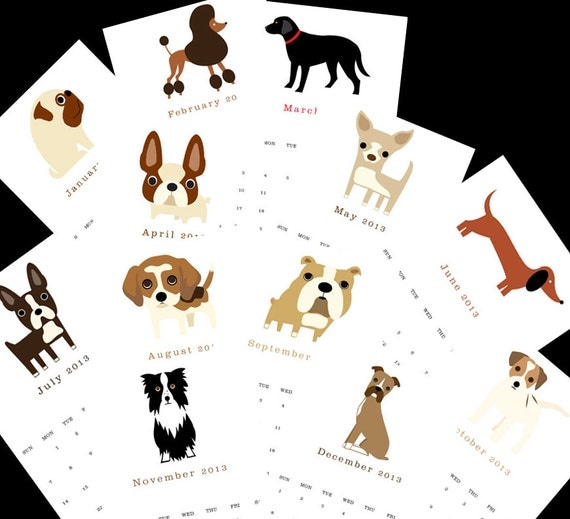 "2013 dog calendar. Twelve (12) adorable dog illustrations, one for each month 5.5"" x 8.5"""