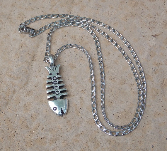 His Fish Bone Necklace Stainless Steel and Pewter Free Shipping