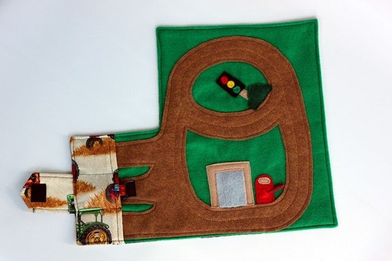 Race Car Track Wallet (holds 3 cars), Fold & Go Travel Toy, Farm Tractor