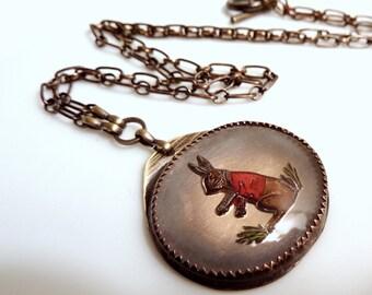 Rabbit Necklace Vintage Reverse Carved Glass Cameo Bunny Statement Necklace