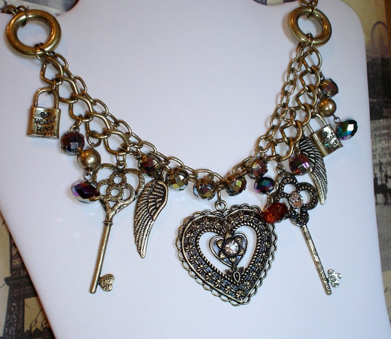 Antiqued mixed charm necklace