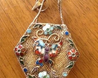 RARE VINTAGE CLOISONNE Goldtone Weaved Pendant One Of A Kind