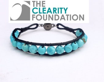 Round Turquoise Black Leather Bracelet  - The Clearity Foundation  - Ovarian Cancer Fundraising