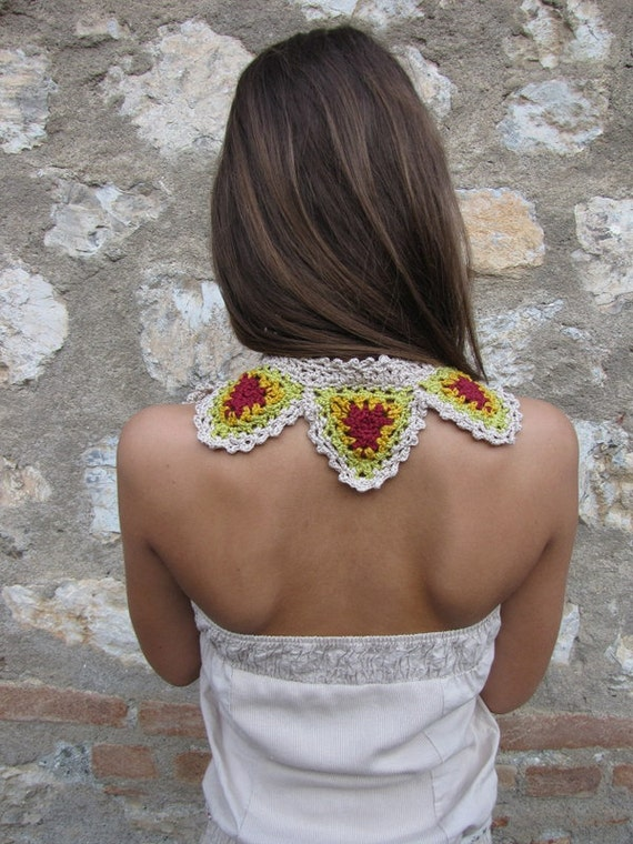 Granny collar - granny triangles scarf - bohemian scarf, boho chic, mory girl collar, ethnic