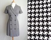 Black & White Houndstooth Secretary Dress