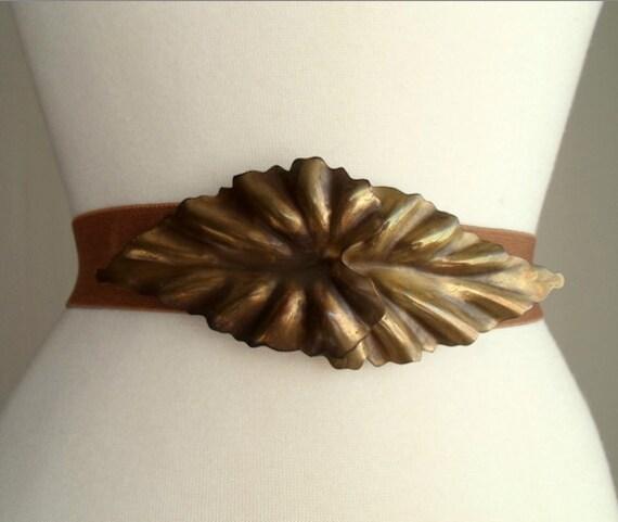 Brown & Gold Tone Leaf Buckle Belt