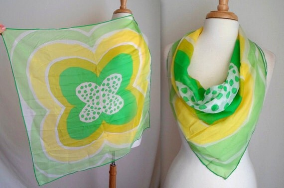 Yellow & Green Polka Dot Scarf
