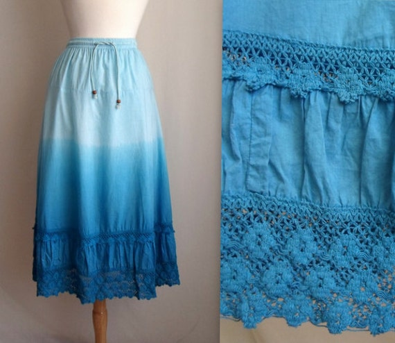 Blue Ombre Lace Ruffled Skirt
