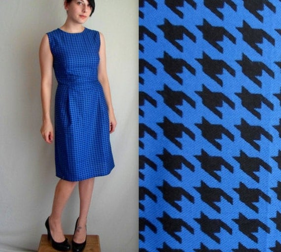Royal Blue & Black Houndstooth Dress