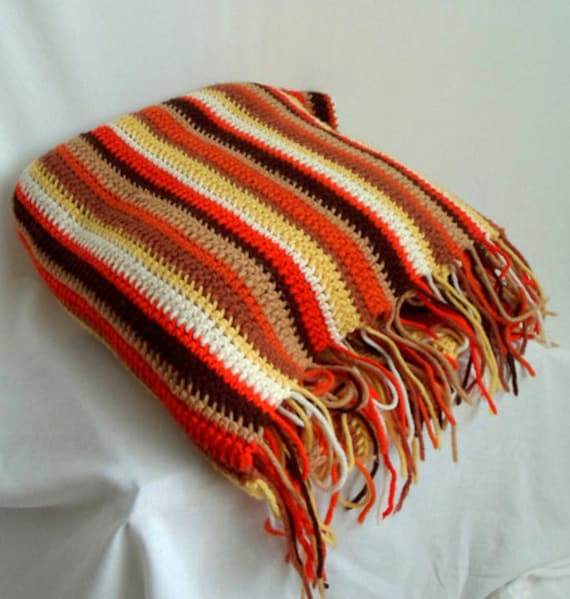 The Colors of Autumn Wool Afghan Blanket with Fringe