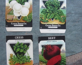Lot of 4 Antique vintage 1920s Card Seed Co. seed packets Fredonia, NY Spinach Beets Cress  Radish