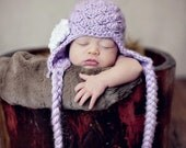Crochet Pattern - Shabby Chic Shell Stitch Earflap Hat Sizes Newborn to Adult, Flower Pattern Included