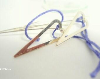 silver lila hearts-  earrings  sterling silver-romantic earrings-vintage thread-eco friendly- purple heart earring- purple gift for her-OOAK