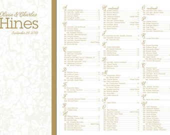 Woodcut flower design wedding seating chart white on white with gold writing - 24 hour turnaround