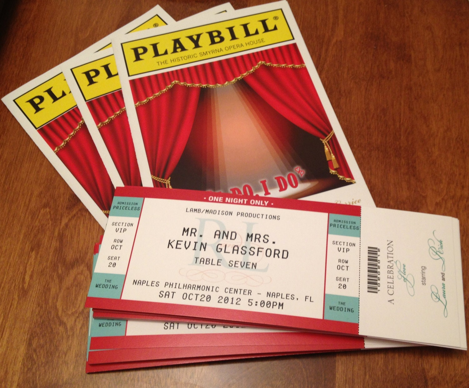 PLAYBILL Theater wedding ticket place cards seating