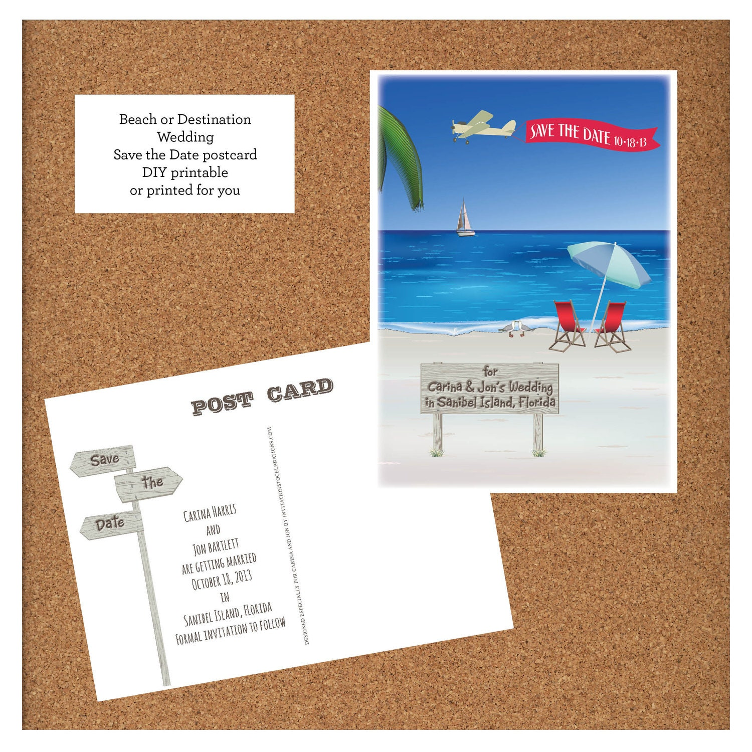 beach destination wedding save the date postcard diy by itcoa