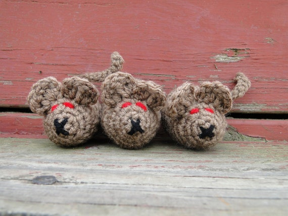 Weekend Sale - Set of 3 Mad Evil Mice Cat Toy's with ORGANIC Catnip Inside