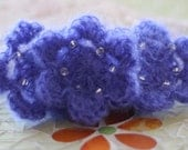 Lavender Blue Crochet Beaded Flowers Kid Mohair and Wool Large Set of 3