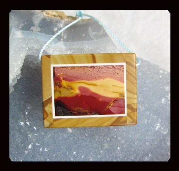 Mookaite,Picture Jasper Intarsia Pendant Bead,26x34x7mm,14.63g