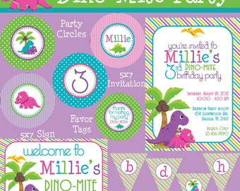 Dino-Mite Dinosaur Essentials Birthday Party Package - Girl DIY Printable