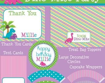 Dino-Mite Dinosaur MEGA Birthday Party Package - Girl DIY Printable