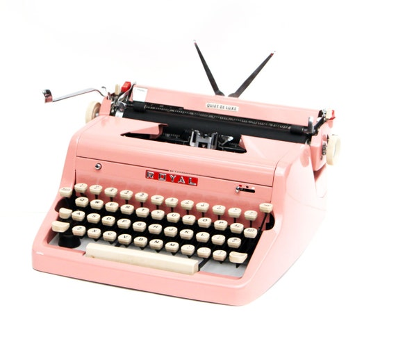 Vintage 1955 Bright Pink Royal Quiet De Luxe Manual Typewriter