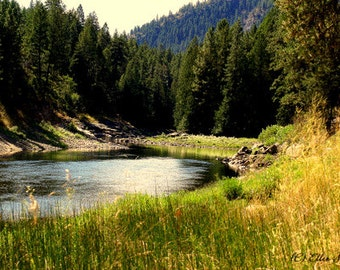 Photo CARD, landscape, northwest river,river, forests, mountains, trees, water, scenic, note card, blank note card, Ellen Strope scenic card