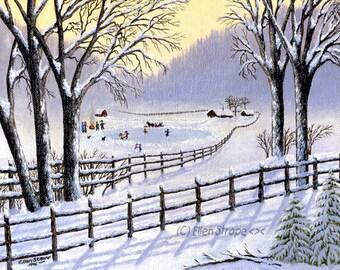 CARDS, winter, snow, dogs, Ellen Strope,  note cards, winter decor, castteam, blank cards, ice skating, children