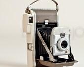 Polaroid Land Camera 80A Highlander outdoorsy vintage instant roll film retro rangefinder beige camo brown decor bellows midcentury 1950s