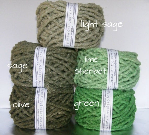 Hand Dyed Cotton Rug Yarn Colors Green Lime By