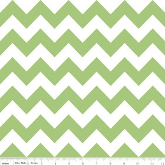 "LAST ONE - Riley Blake, Chevron Stripe in Green - 21"" x wof"