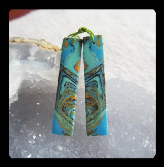 Rainbow Jasper  Earring Bead,41x9x4mm,4.96g