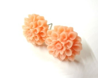 Peach Blossoms - Chrysanthemum Flower Post Earrings