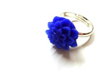 Cobalt Blue Chrysanthemum Flower Silver Toned Adjustable Ring