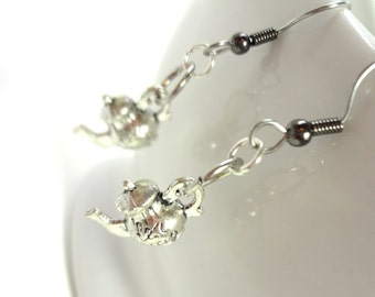 Tea Earrings, Silver Pot on Surgical Steel Hooks or Clip Ons, Alice in Wonderland, Tea Party Jewelry, Drink Me