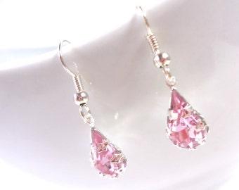 Teardrop Pink Rhinestone Earrings
