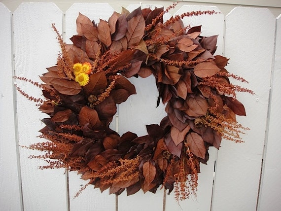 Autumn Preserved Salal Wreath in Honey and Copper Now On Sale