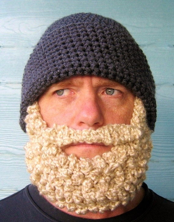 Crocheted Beard Hat Beanie - Dark Grey Blonde Beard