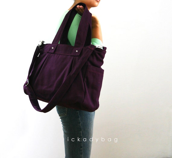 Back to School Sale 10% off - Deep Plum Diaper Bag - Canvas Bag with 3 Compartments - Messenger Bag / Cross body / Work out