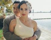 Vintage Great Gatsby Bridal Czechoslovakia Crystal headpiece. Swarovski Jewel Beaded Wedding Headband.  CRYSTAL LEAF